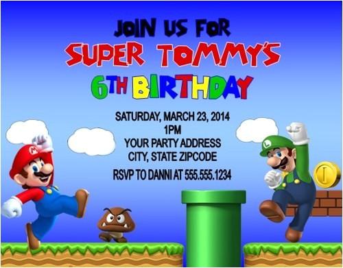 Personalized Super Mario Birthday Invitations Super Mario & Luigi Birthday Party Invitations