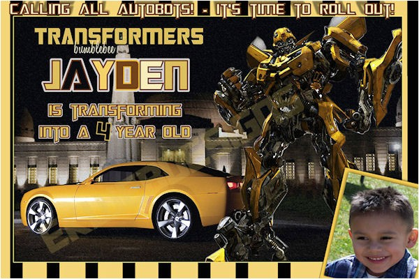 customized printable transformers bumble bee birthday invitation 2
