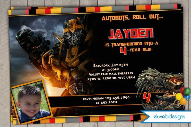 transformers 4 personalized photo birthday invitations a