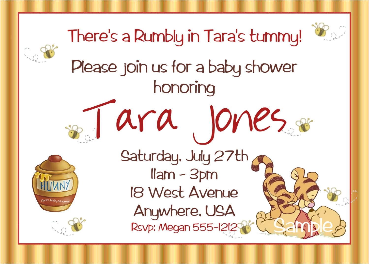 Personalized Winnie the Pooh Baby Shower Invitations Winnie the Pooh Baby Shower Invitations Printable Card