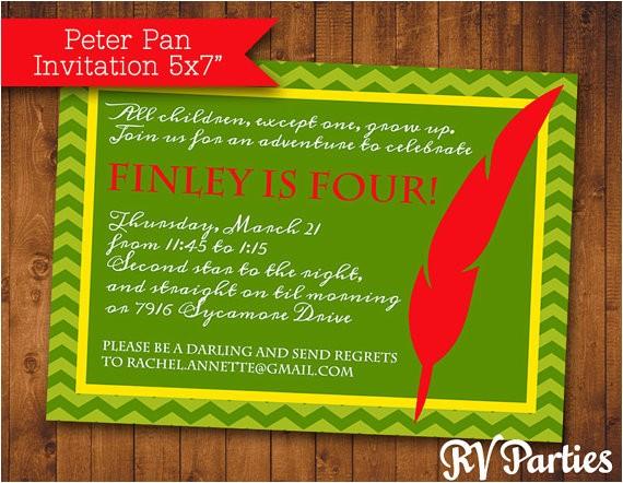 peter pan birthday invitation