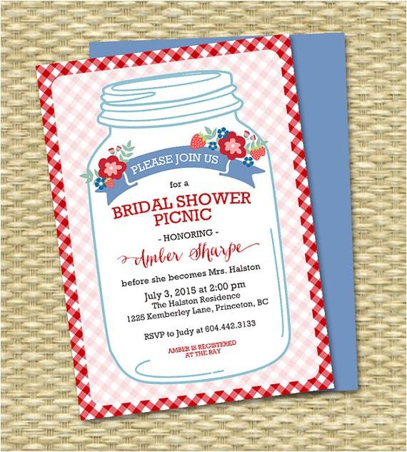 bridal shower picnic invitation mason