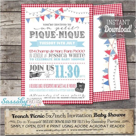 french picnic invitation instant editable