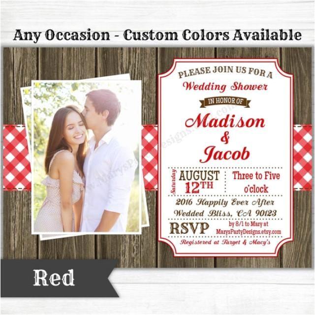 picnic bbq western invitation baby bridal wedding shower birthday wel e party rustic gingham wood digital printable evite pdf jpeg