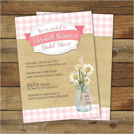 picnic bridal shower invitation pink