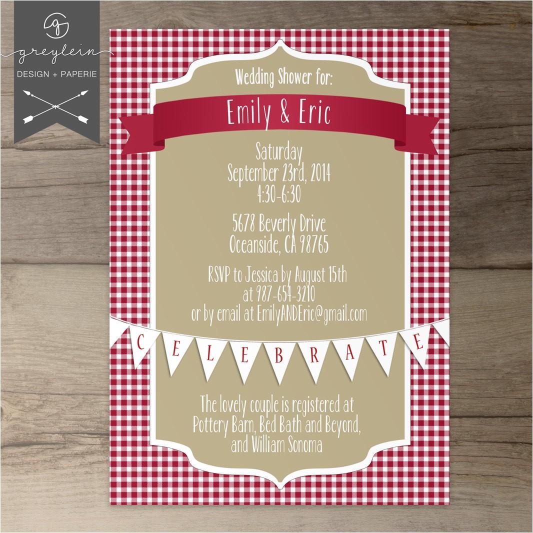 picnic shower invitations wedding bridal