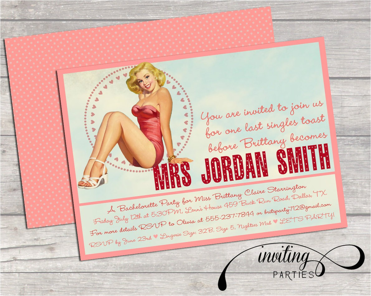 vintage pin up girl invitation