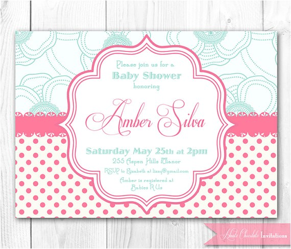 Pink and Aqua Baby Shower Invitations Haute Chocolate S Vendor Listing