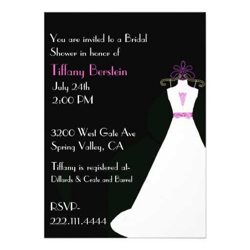 black white and pink bridal shower invitation