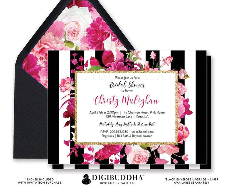 bridal shower invitation bridal shower invite black white striped gold glitter pink printed or printable bridal shower invitation christy