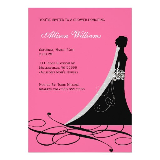 bridal shower invitations in hot pink and black
