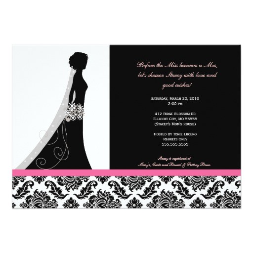 bridal shower invitations in pink and black damask