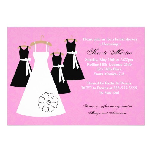 chic pink and black bridal shower invitation