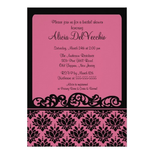 pink black damask bridal shower invitation