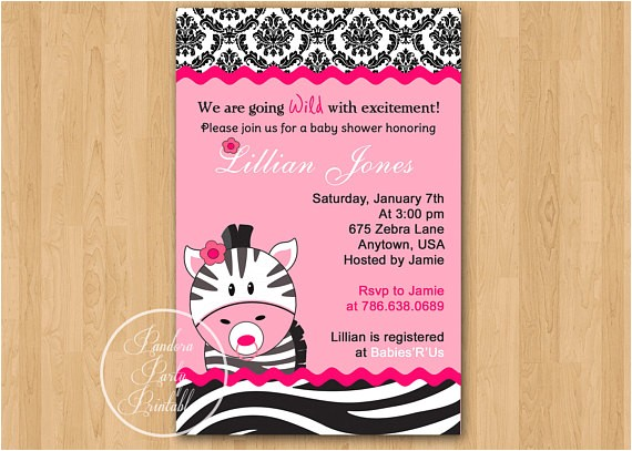 hot pink zebra baby shower invitation