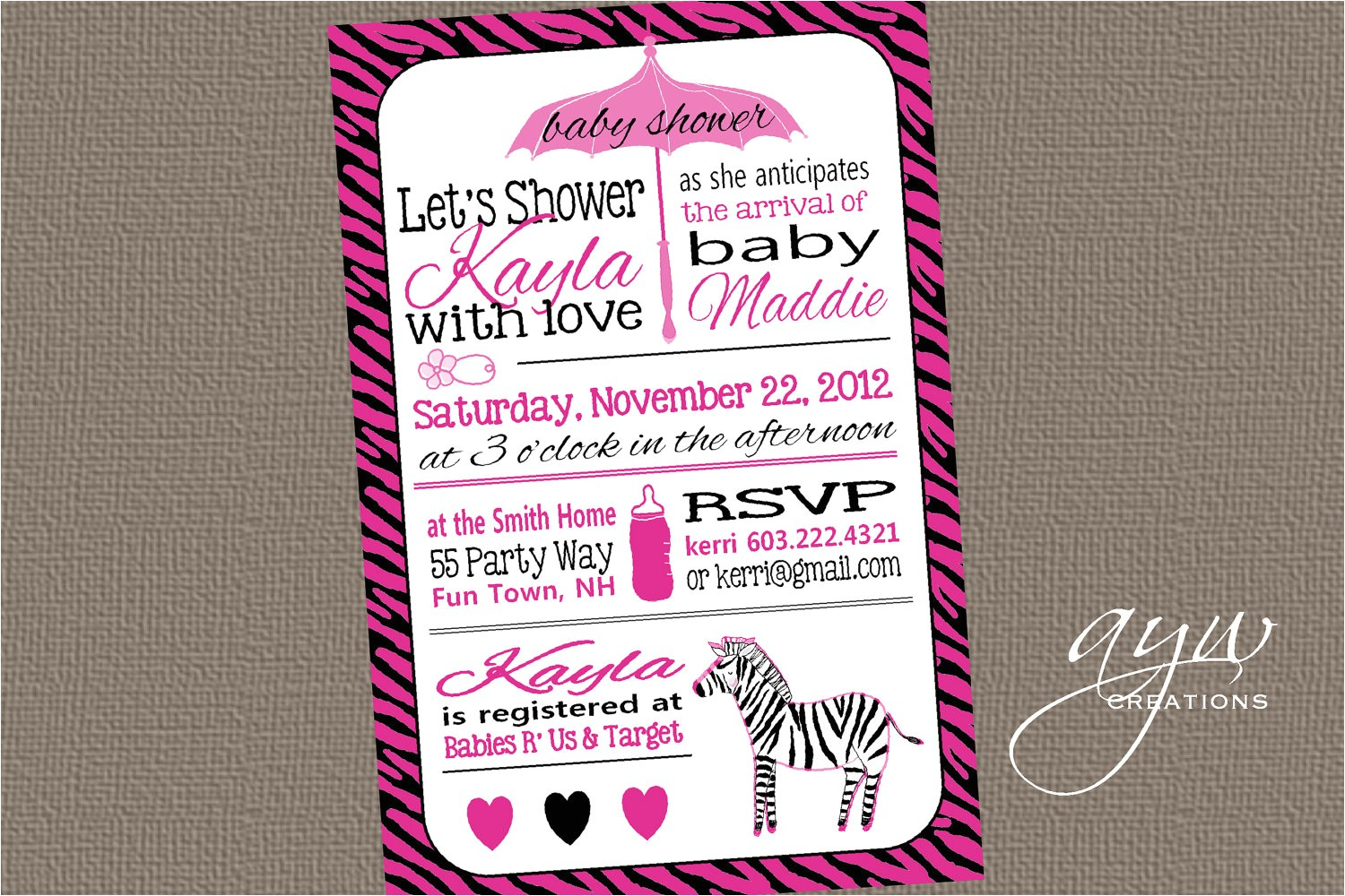 pink and black zebra baby shower invitations