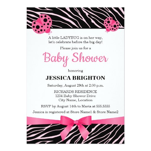 pink ladybug zebra stripes baby shower invitations