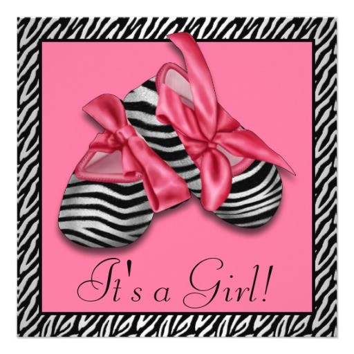 black pink zebra baby shower invitations
