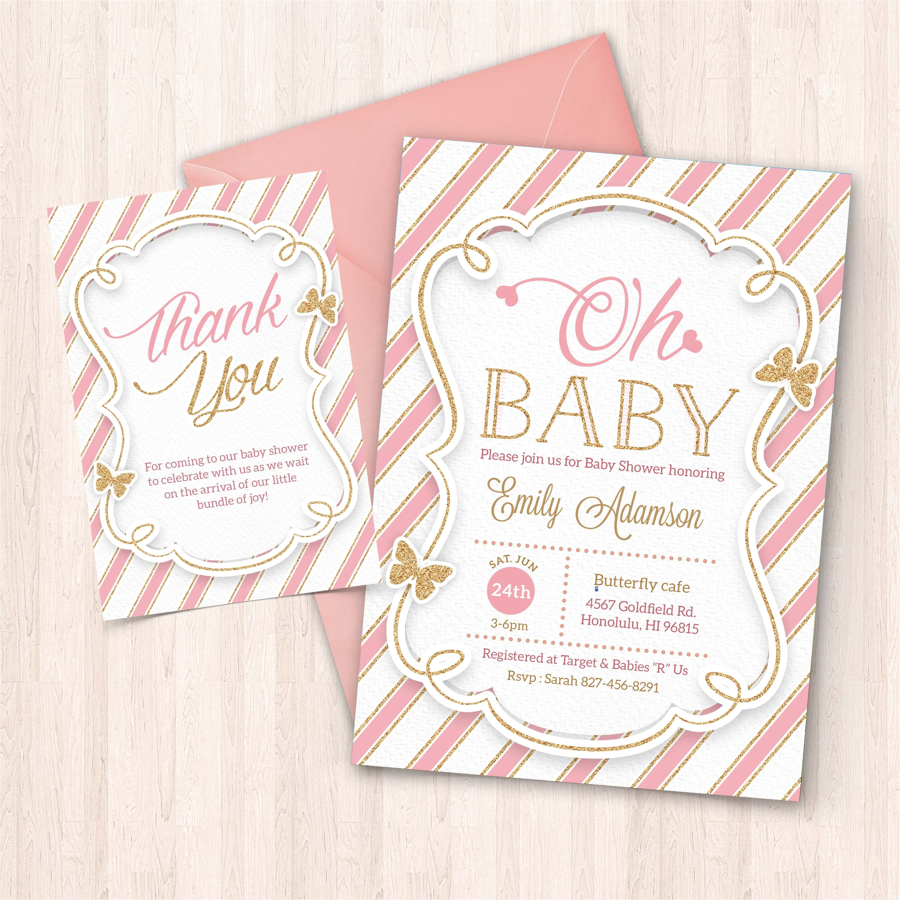 printable pink and gold baby shower invitation free thank you card to print at home