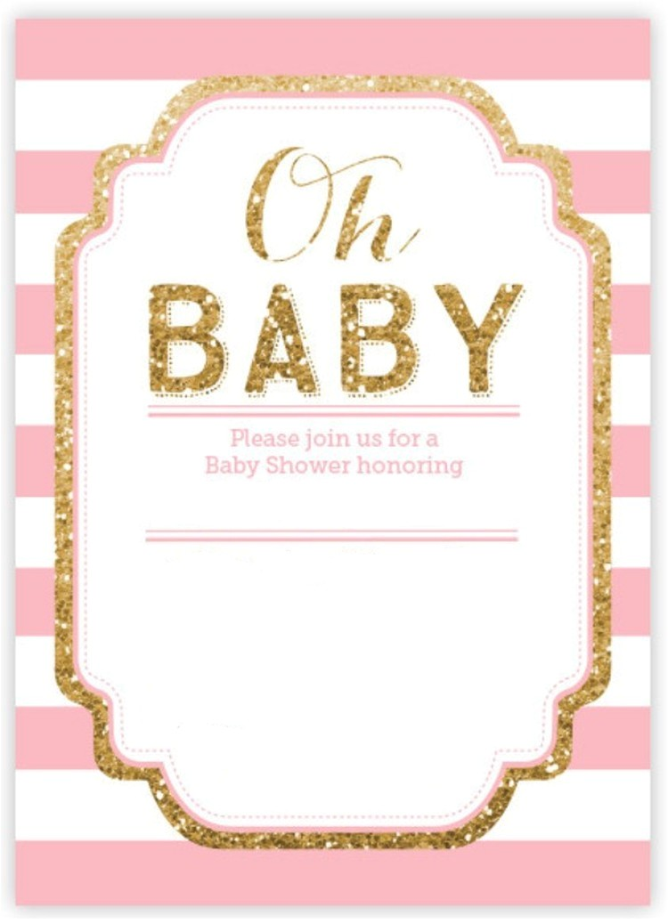 Pink and Gold Baby Shower Invitations Free Pink and Gold Glitter Baby Shower Invitation