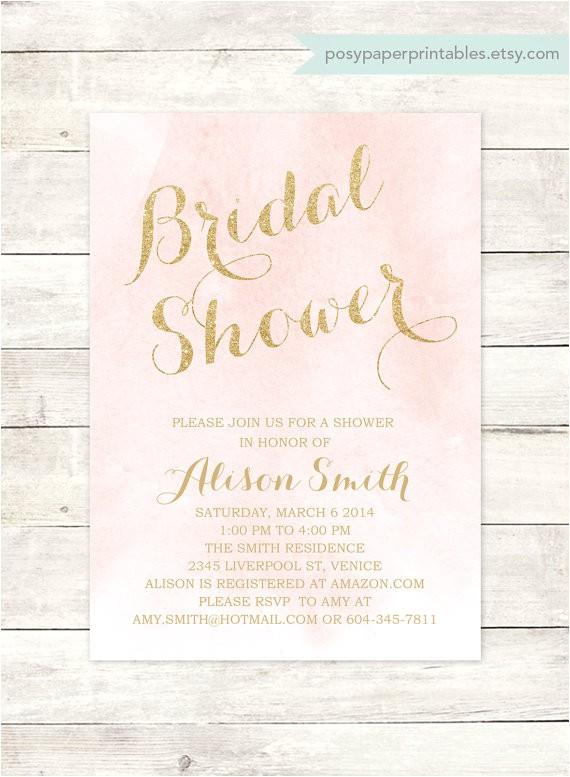 pink gold bridal shower invitation