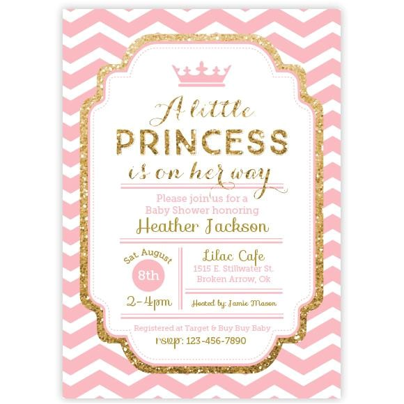 princess chevron pink and gold glitter baby shower invitation