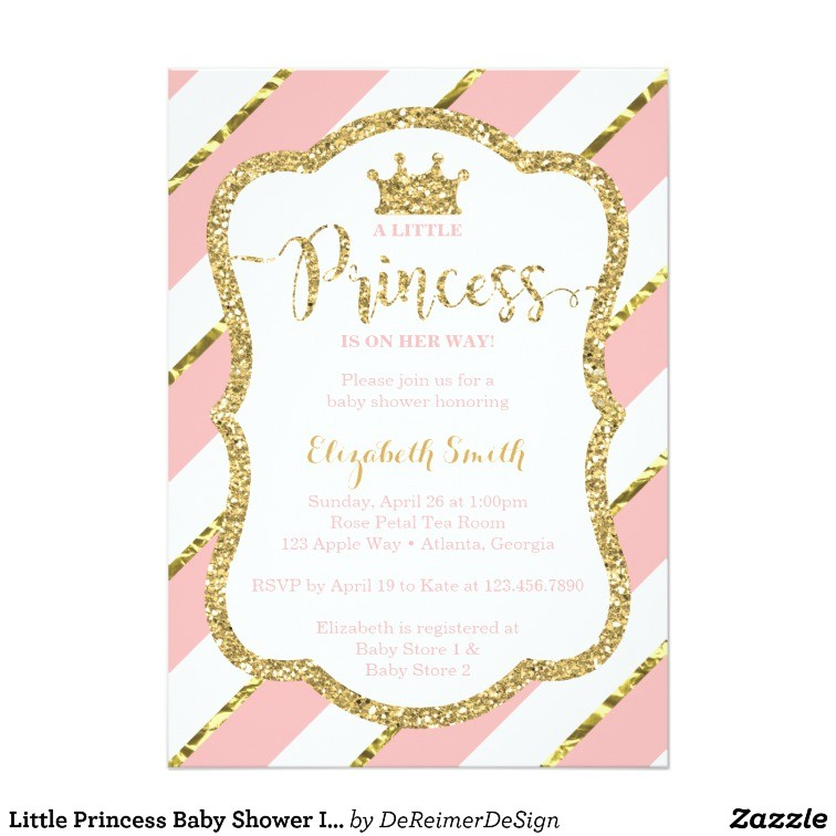 little princess baby shower invitation pink gold card