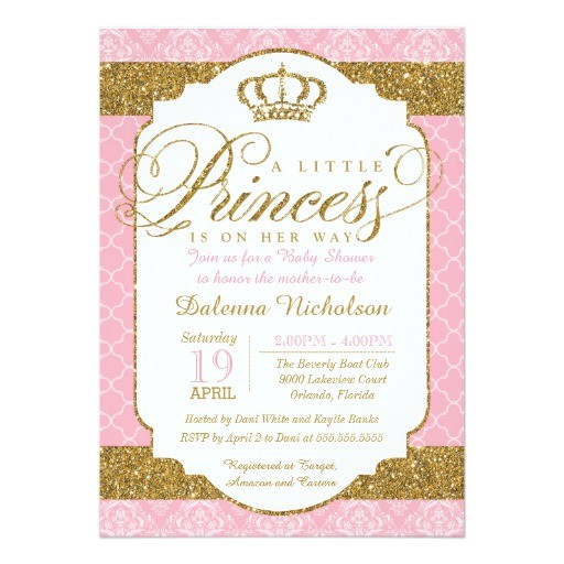 Pink and Gold Princess Baby Shower Invitations Little Princess Royal Pink and Gold Baby Shower 5×7 Paper
