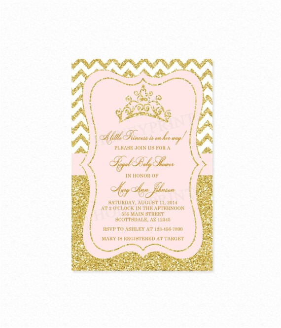 princess baby shower invitation princess tiara 3