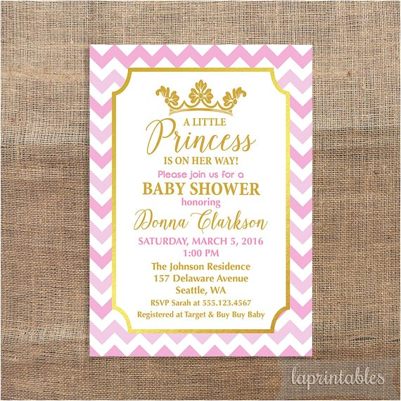 princess baby shower invitation pink