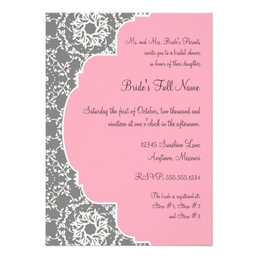 annaliese damask pink and grey bridal shower invitation