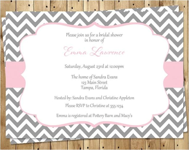 bridal shower invitations pink gray white chevron wedding set of 10 printed cards free shipping stlop stripes of love pink