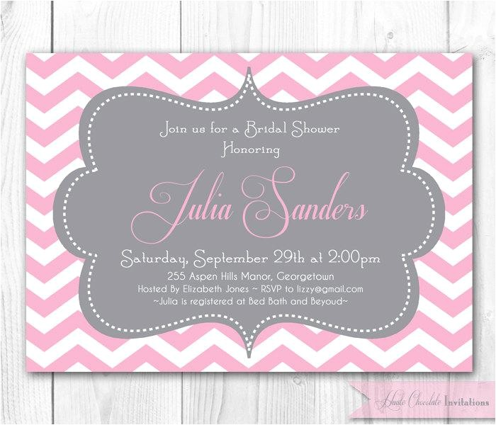 chevron bridal shower invitation pink gray chevron or damask invitation diy printable bridal shower baby shower or brithday invite