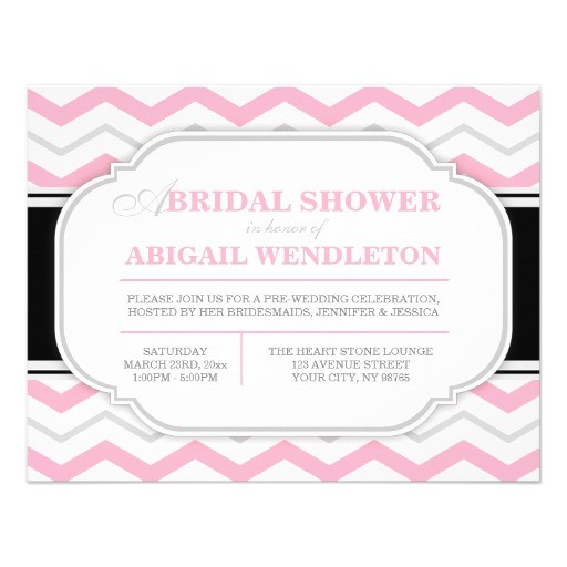 gray pink chevron bridal shower invitations