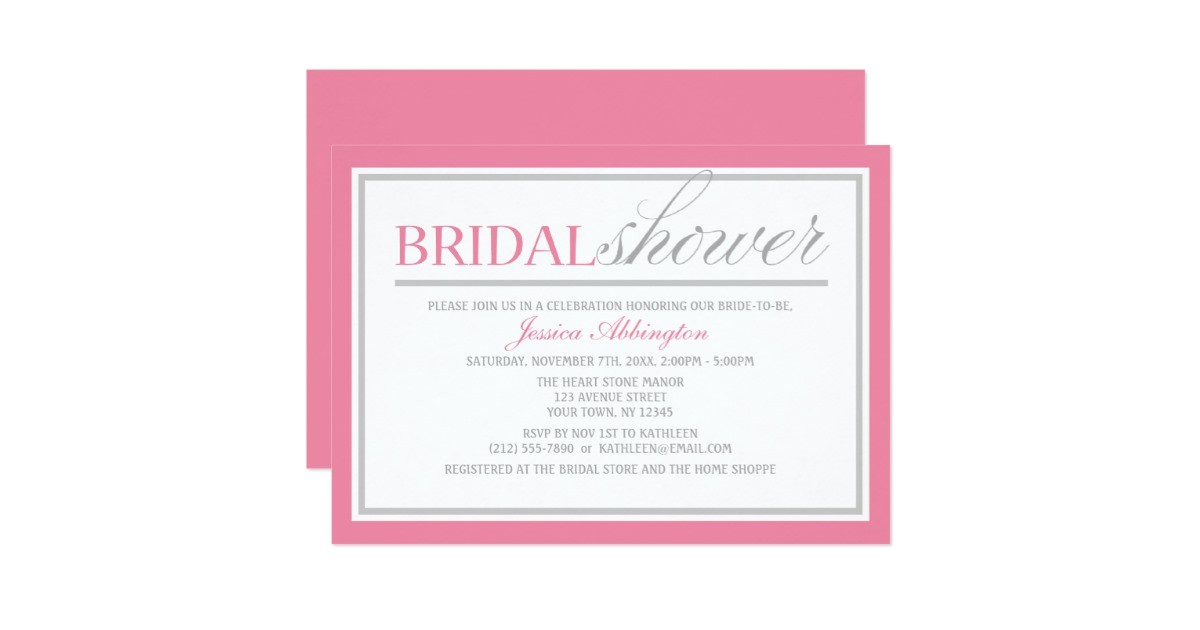modern pink gray bridal shower invitations