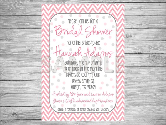 pink and grey bridal shower invitation