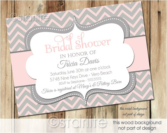 Pink and Gray Bridal Shower Invitations Pink Gray Bridal Shower Invitation Chevron