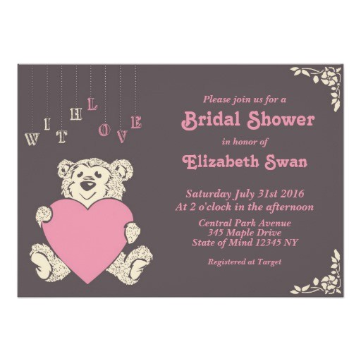pink grey teddy bear bridal shower invitation