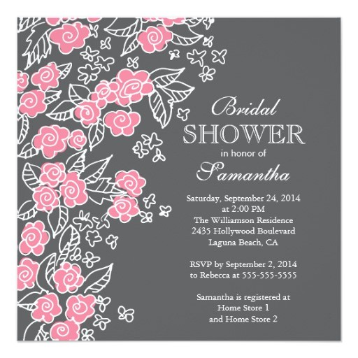 pretty flowers modern pink gray bridal shower invitation