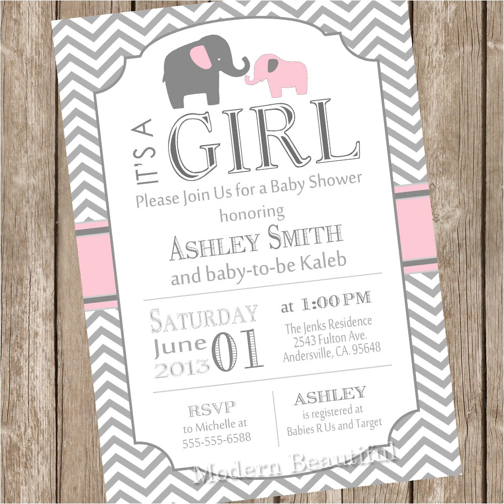 pink and gray girl elephant baby shower
