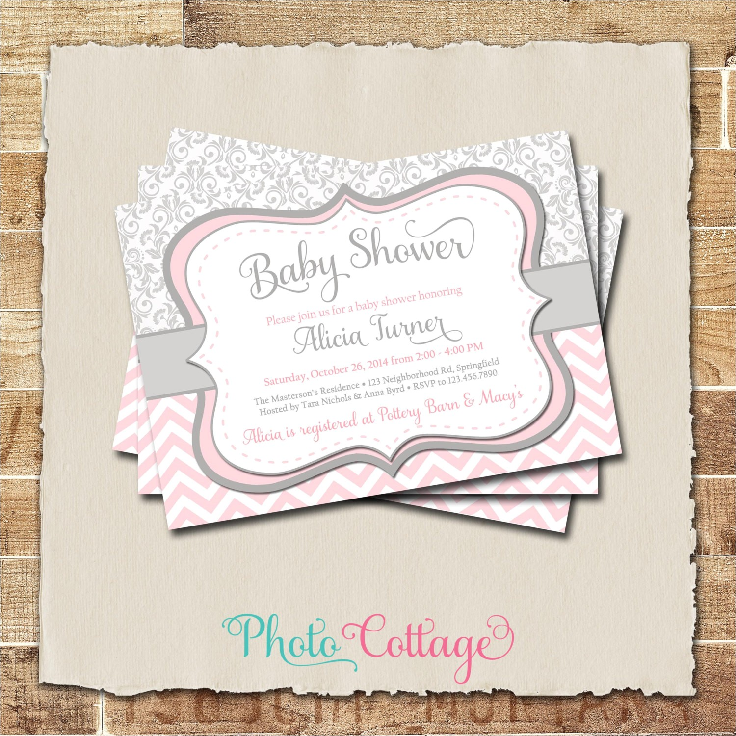 pink gray girl baby shower invitation