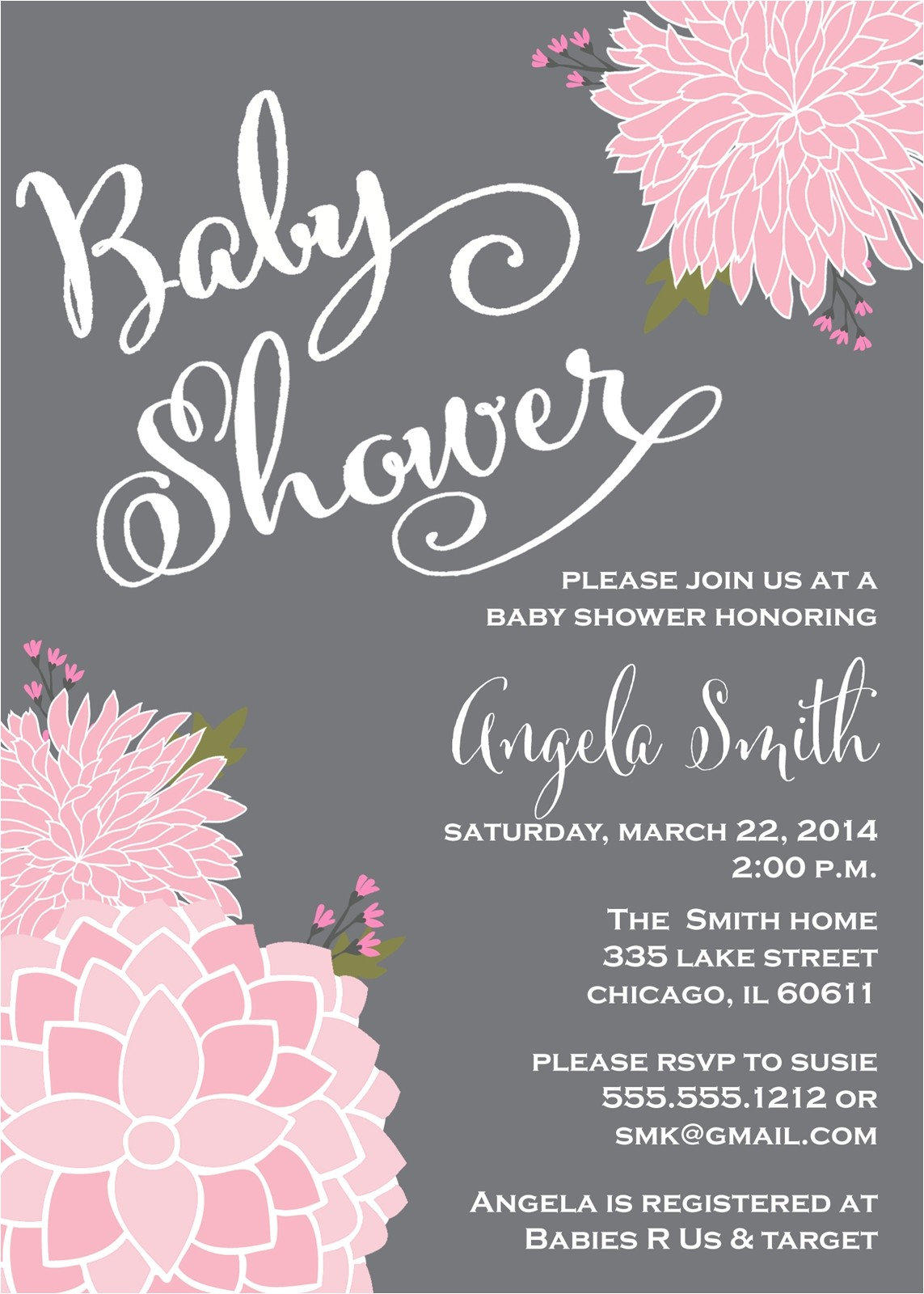 pink and gray baby shower invitations