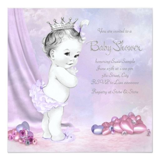 purple pink baby shower invitations