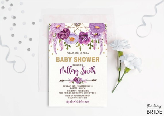lavender baby shower invitations