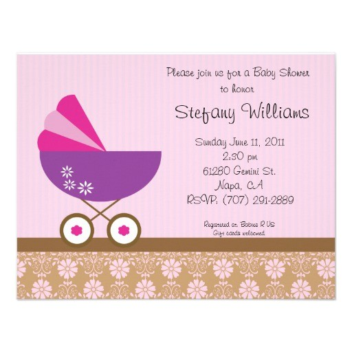 pink purple baby shower invitation