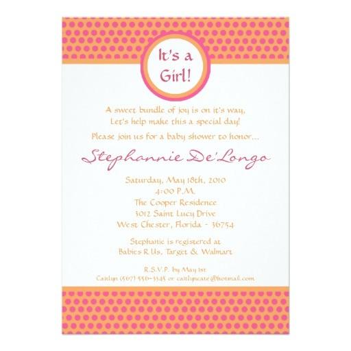 5x7 pink orange polka dot baby shower invitation