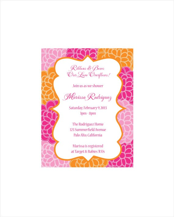 baby shower invitation bold pink and