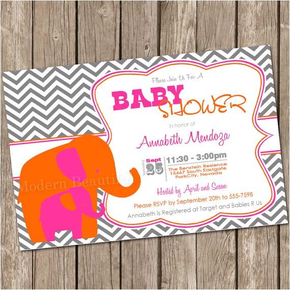 girl elephant baby shower invitation elephant