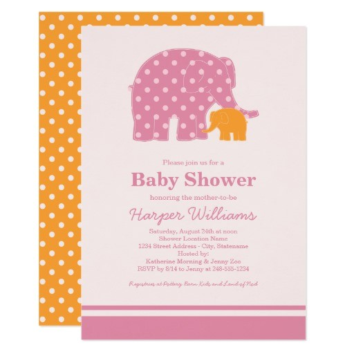 elephant baby shower invitations pink and orange