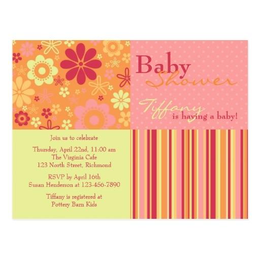 flower fizz pink orange baby shower invitation postcard
